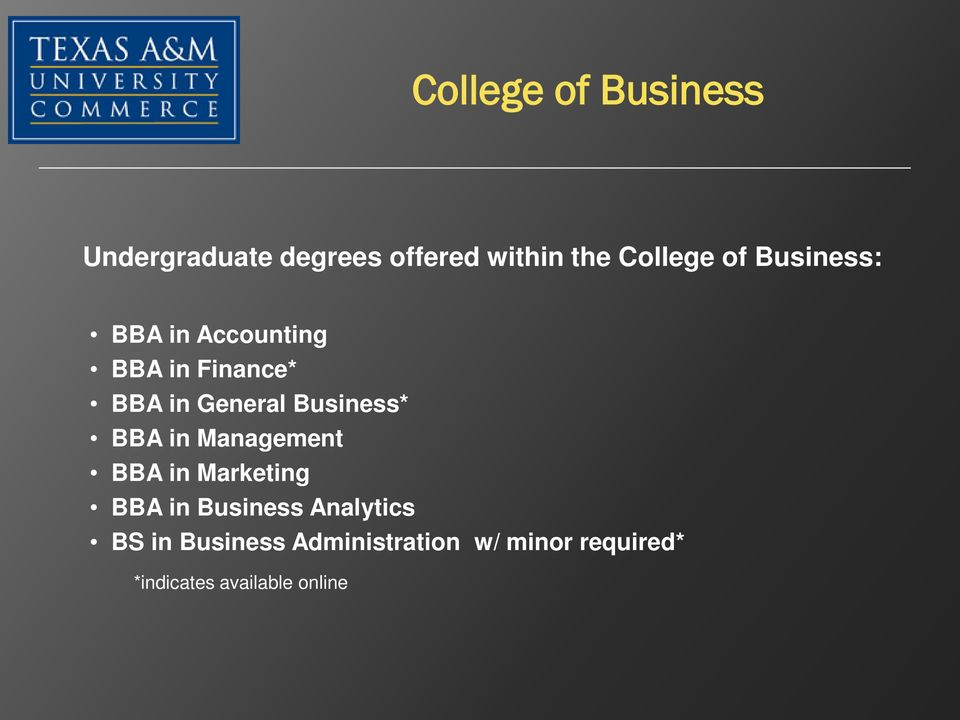 in Management BBA in Marketing BBA in Business Analytics BS in