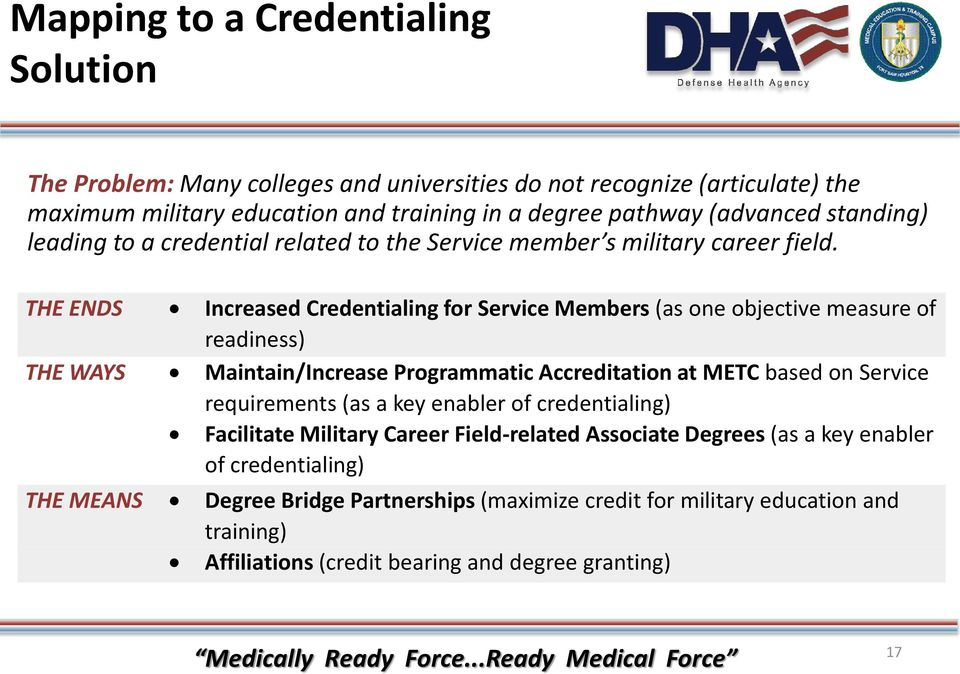 THE ENDS Increased Credentialing for Service Members (as one objective measure of readiness) THE WAYS Maintain/Increase Programmatic Accreditation at METC based on Service