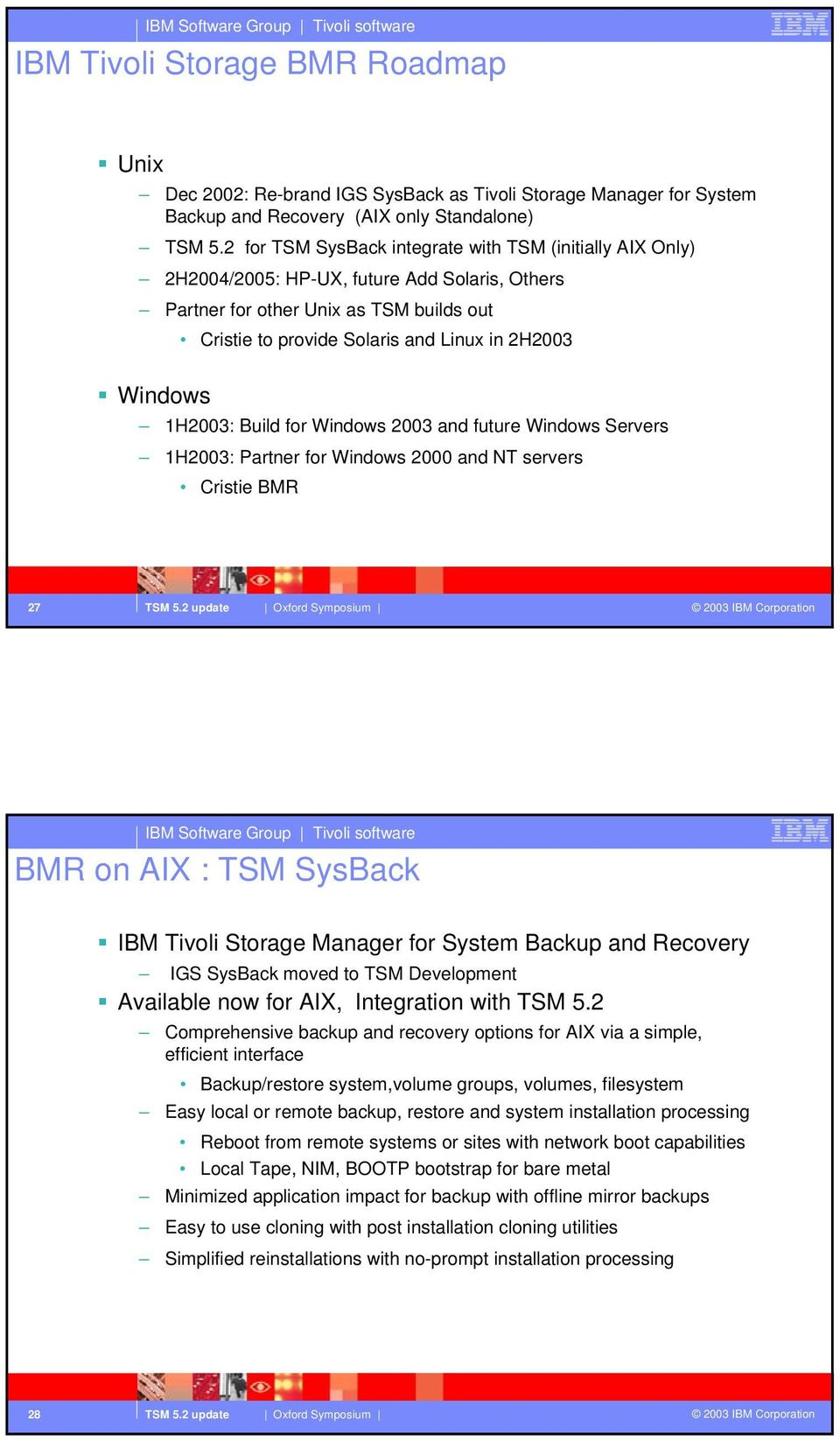 Windows 1H2003: Build for Windows 2003 and future Windows Servers 1H2003: Partner for Windows 2000 and NT servers Cristie BMR 27 BMR on AIX : TSM SysBack IBM Tivoli Storage Manager for System Backup