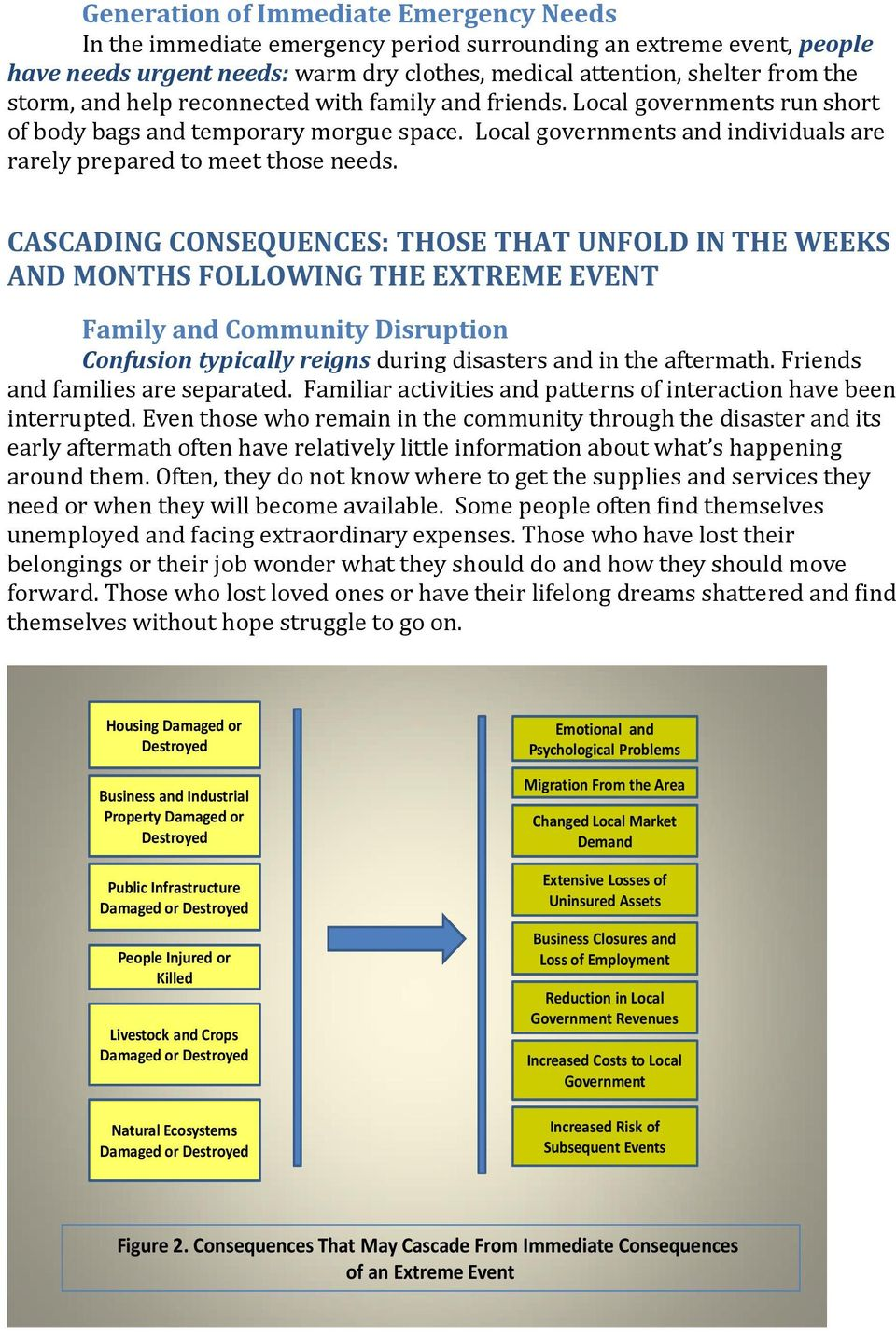 CASCADING CONSEQUENCES: THOSE THAT UNFOLD IN THE WEEKS AND MONTHS FOLLOWING THE EXTREME EVENT Family and Community Disruption Confusion typically reigns during disasters and in the aftermath.