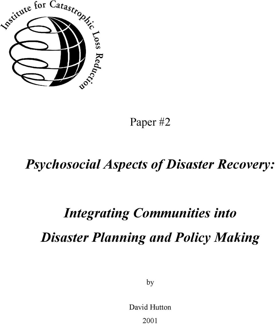 Communities into Disaster Planning