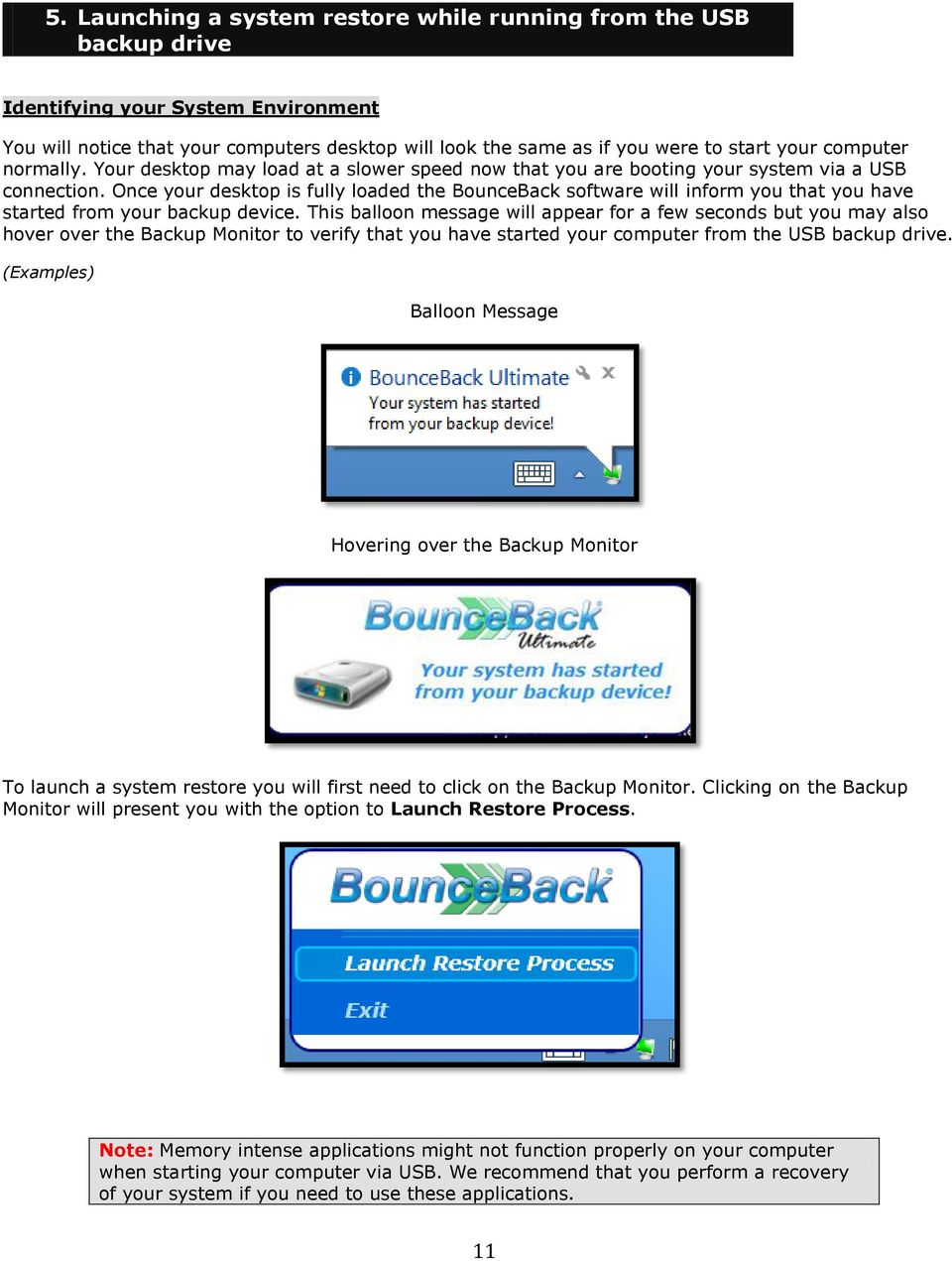 Once your desktop is fully loaded the BounceBack software will inform you that you have started from your backup device.