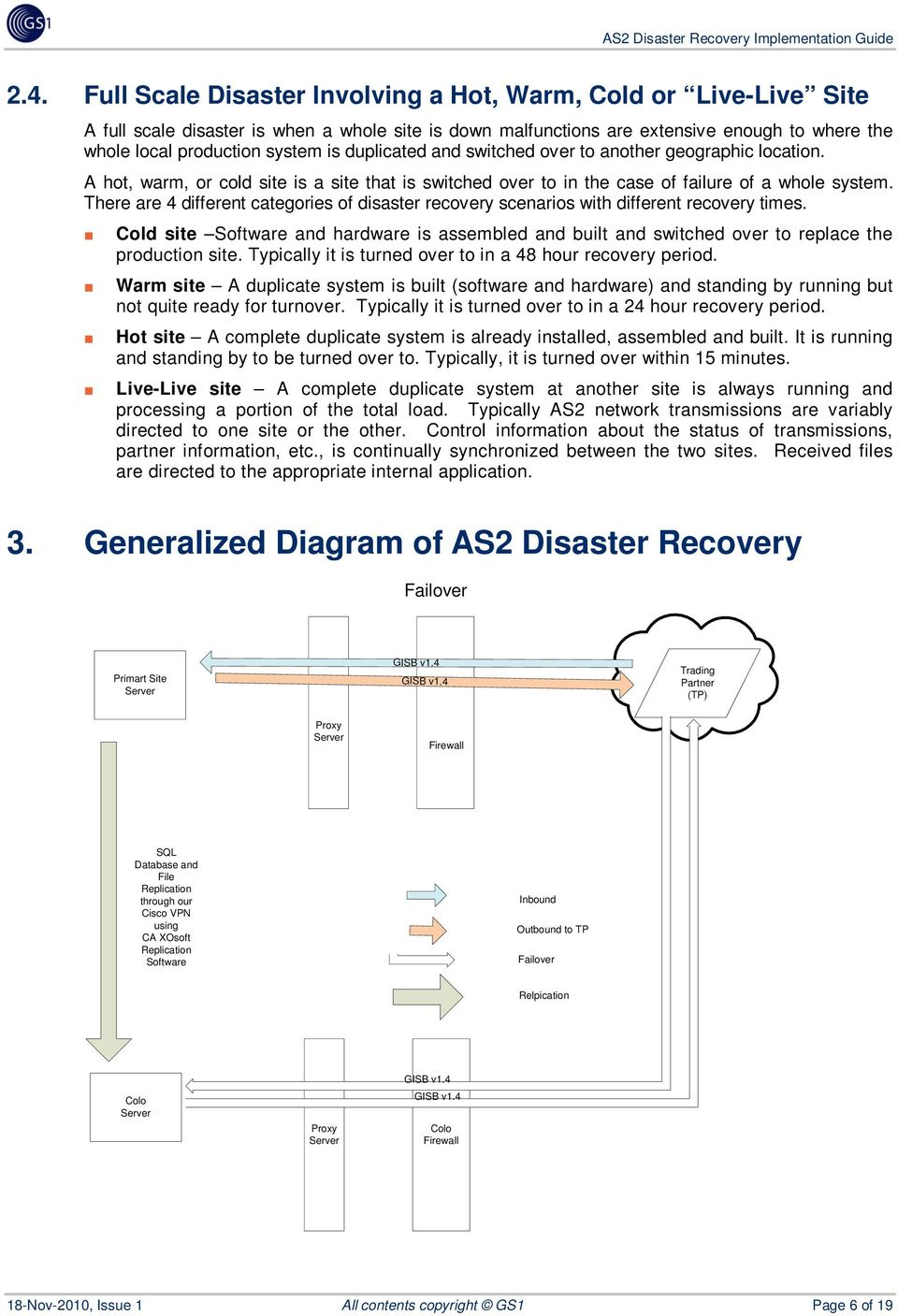There are 4 different categories of disaster recovery scenarios with different recovery times. Cold site Software and hardware is assembled and built and switched over to replace the production site.