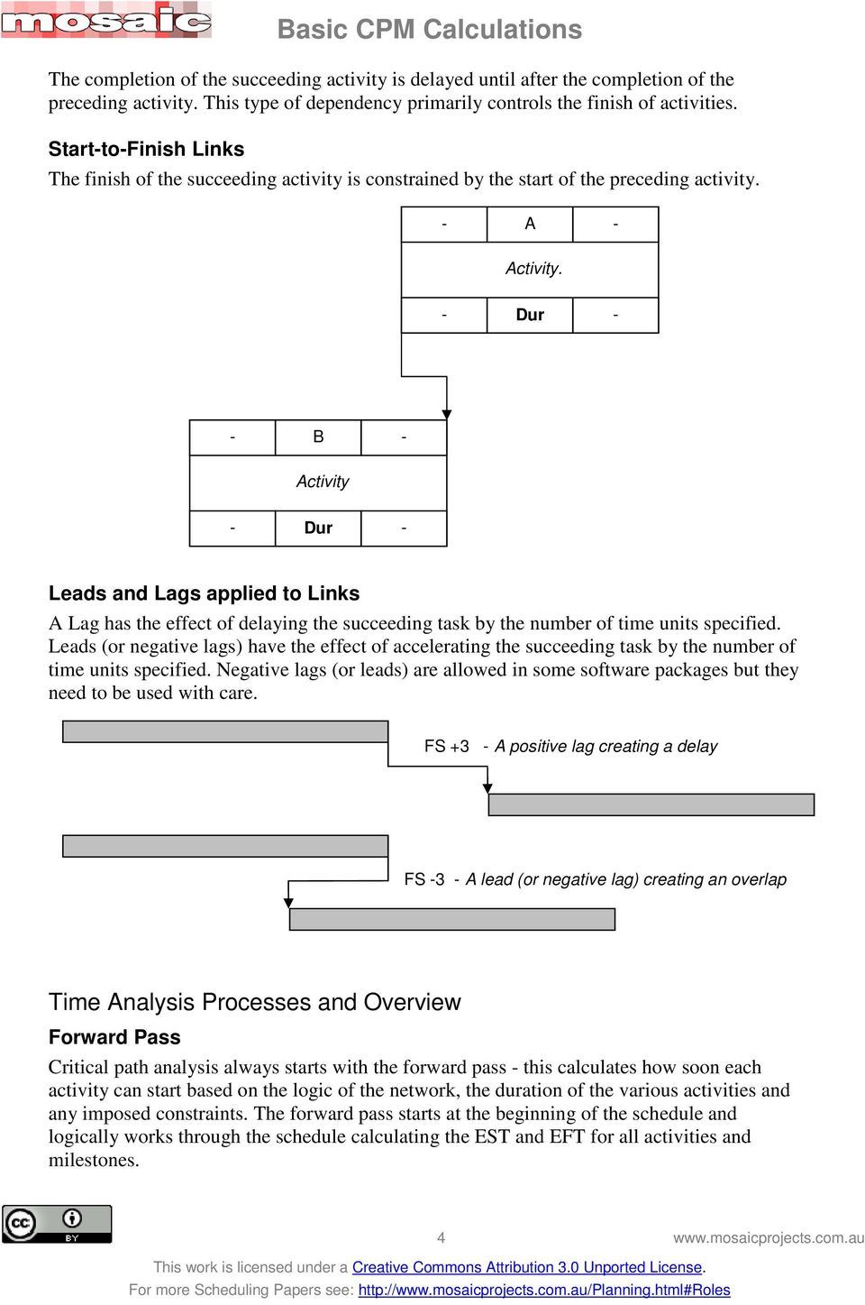- B - Activity Leads and Lags applied to Links A Lag has the effect of delaying the succeeding task by the number of time units specified.