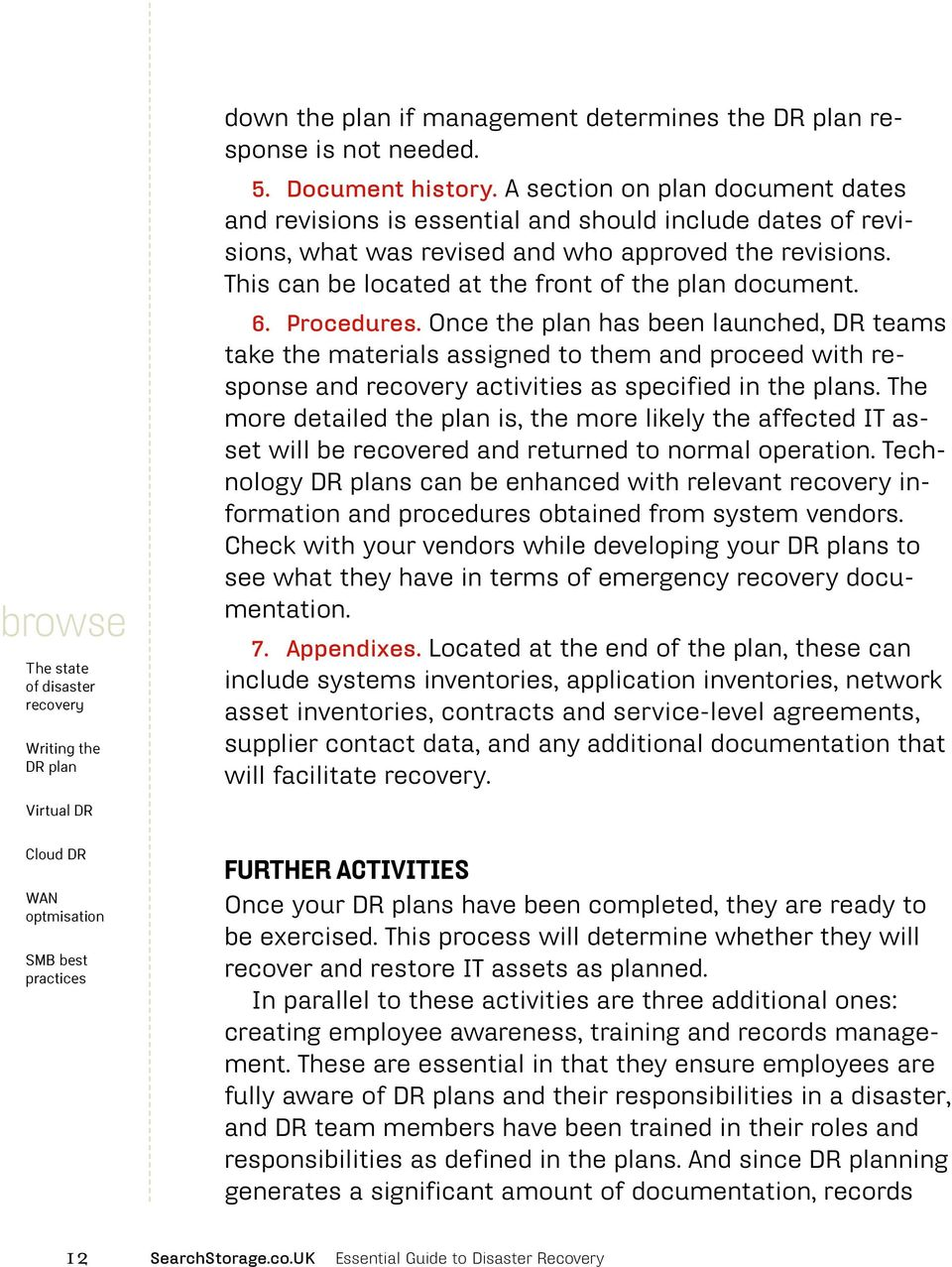 This can be located at the front of the plan document. 6. Procedures.