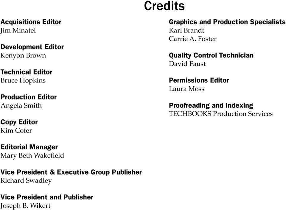 Foster Quality Control Technician David Faust Permissions Editor Laura Moss Proofreading and Indexing TECHBOOKS