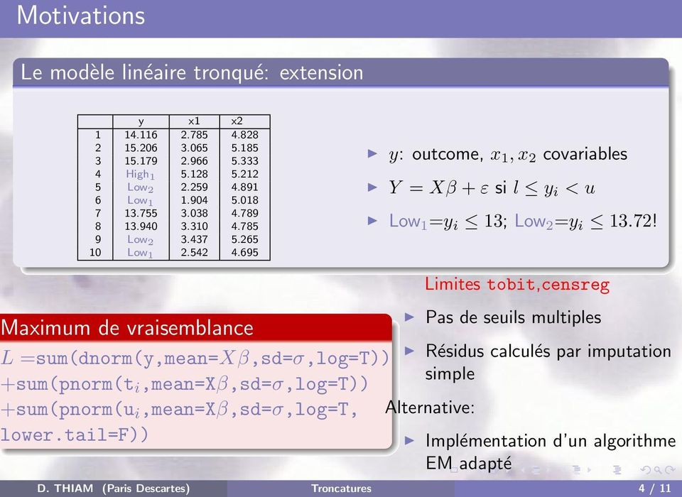 695 y: outcome, x 1, x 2 covariables Y = Xβ + ε si l y i < u Low 1 =y i 13; Low 2 =y i 13.72!