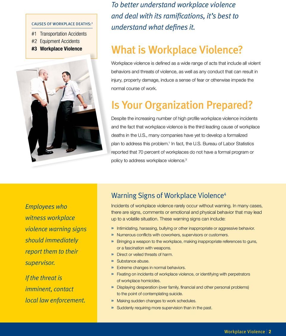 Workplace violence is defined as a wide range of acts that include all violent behaviors and threats of violence, as well as any conduct that can result in injury, property damage, induce a sense of