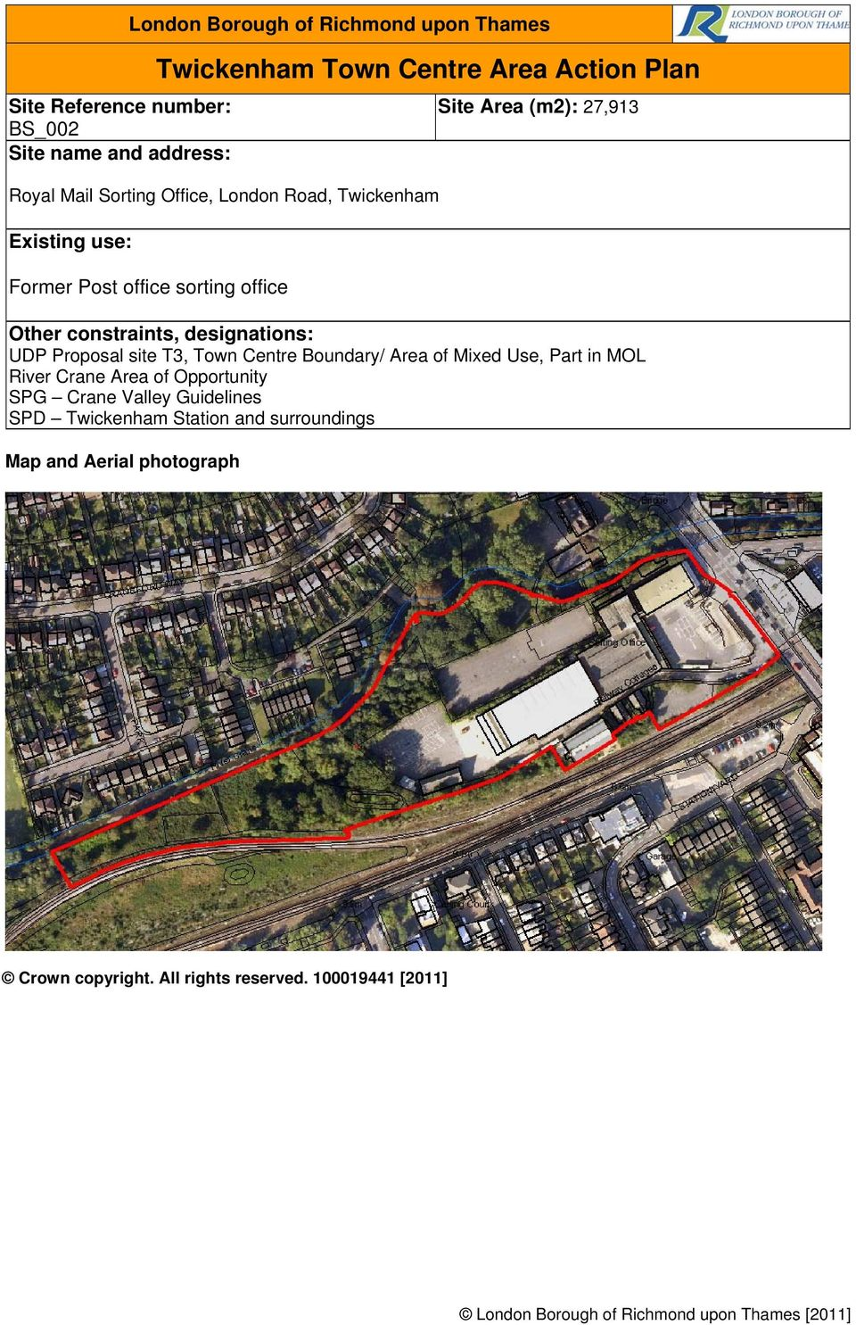 27,913 UDP Proposal site T3, Town Centre Boundary/ Area of Mixed Use, Part in MOL River