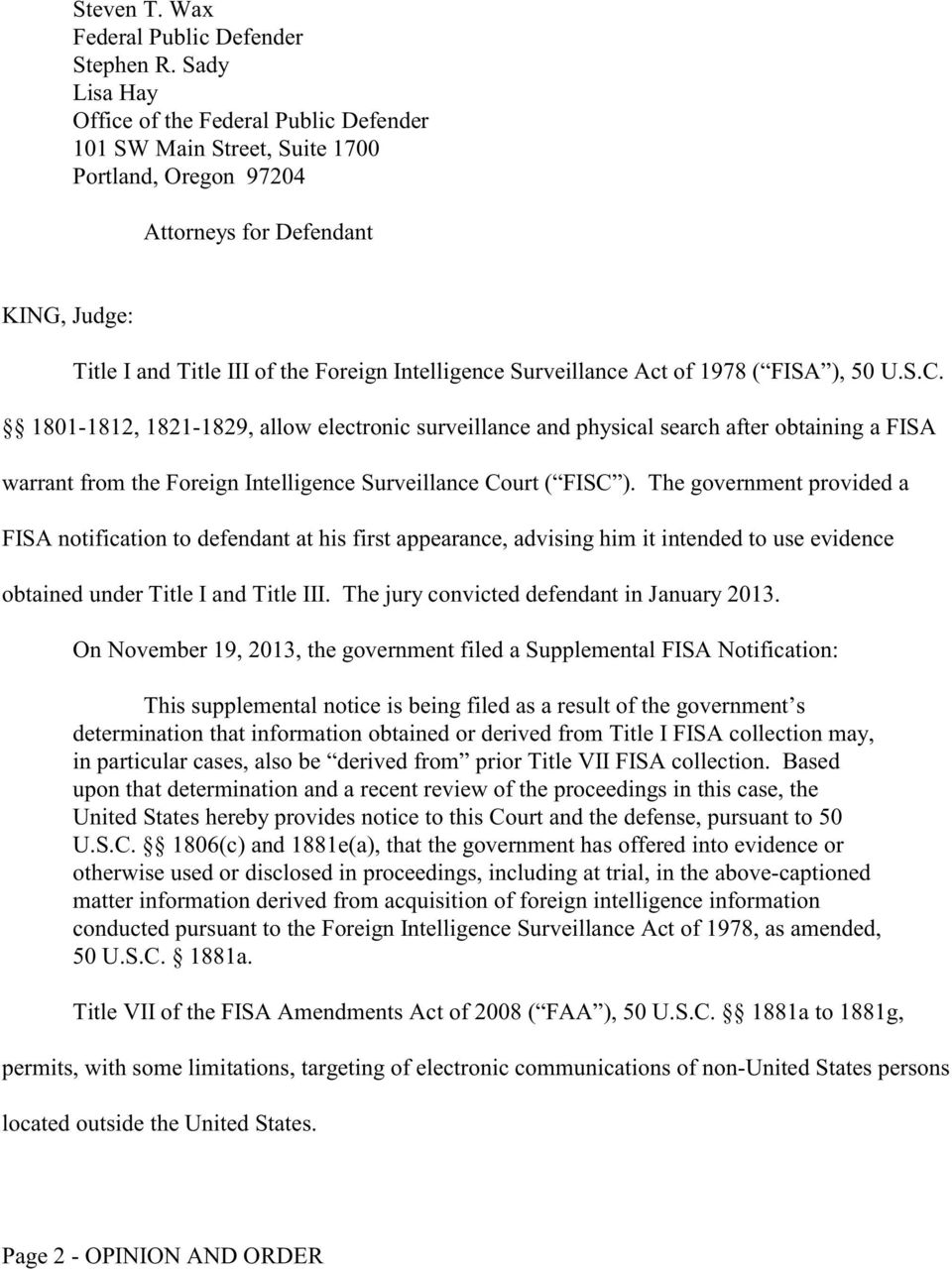 Surveillance Act of 1978 ( FISA ), 50 U.S.C.
