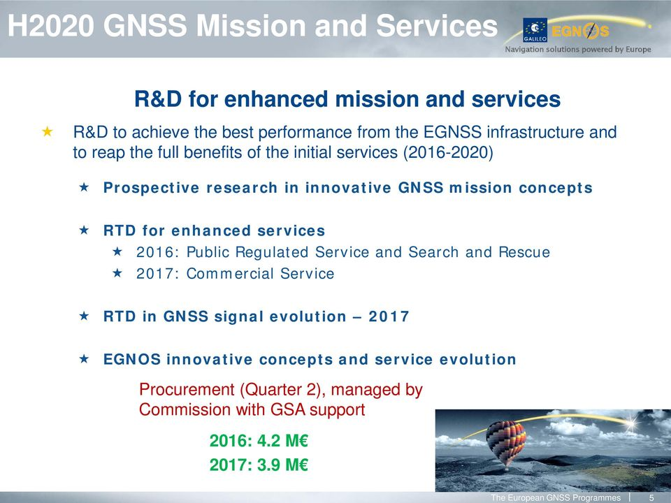 services 2016: Public Regulated Service and Search and Rescue 2017: Commercial Service RTD in GNSS signal evolution 2017 EGNOS innovative
