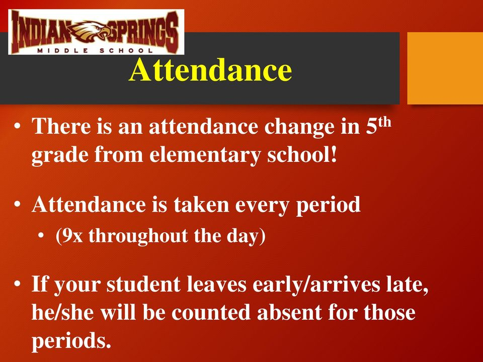 Attendance is taken every period (9x throughout the day)