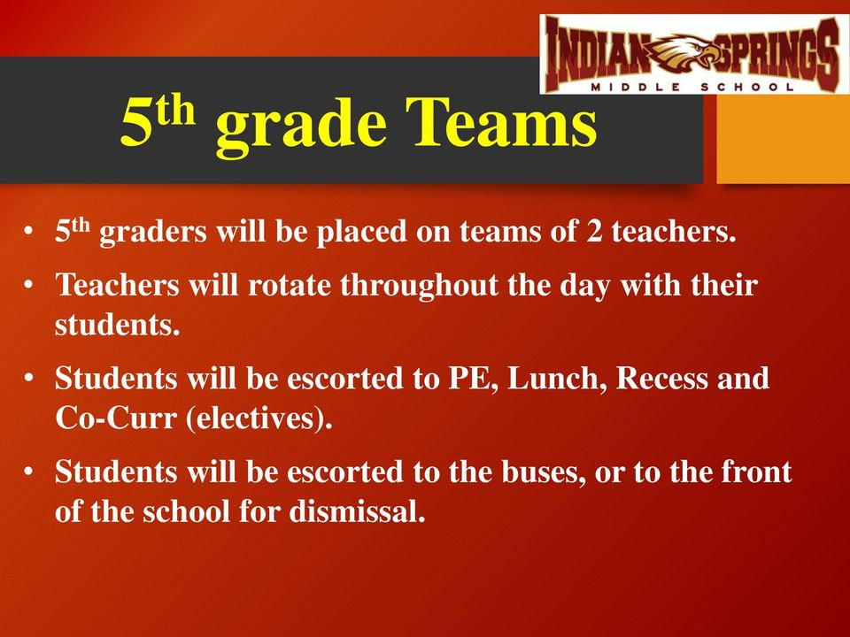 Students will be escorted to PE, Lunch, Recess and Co-Curr (electives).