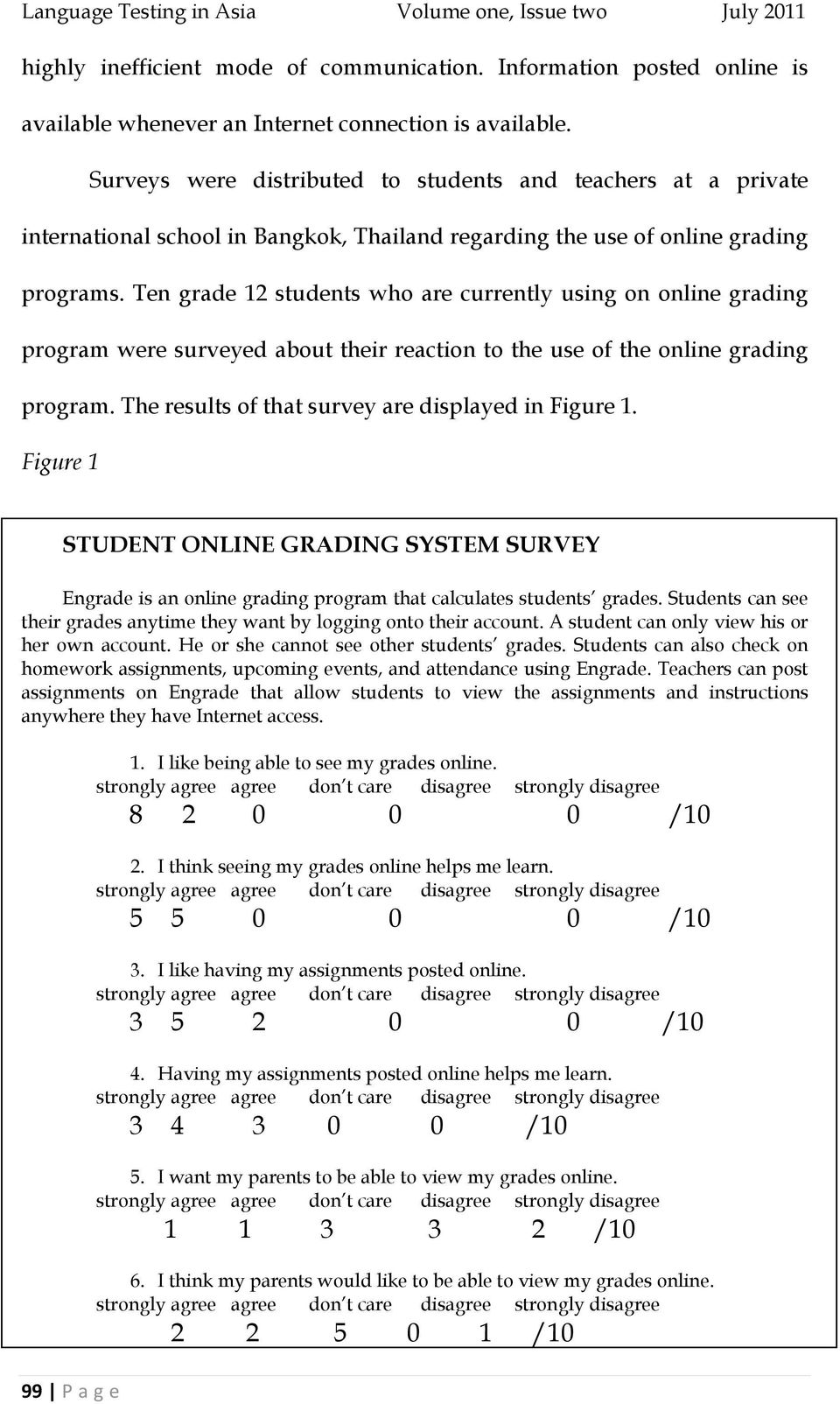 Ten grade 12 students who are currently using on online grading program were surveyed about their reaction to the use of the online grading program.