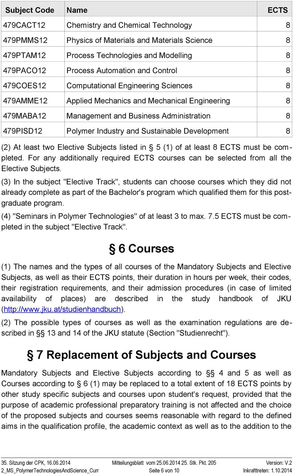 Sustainable Development 8 (2) At least two Elective Subjects listed in 5 (1) of at least 8 ECTS must be completed.