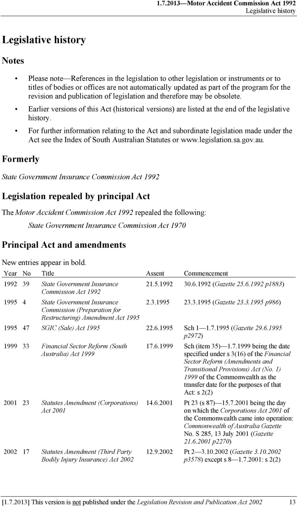 Earlier versions of this Act (historical versions) are listed at the end of the legislative history.