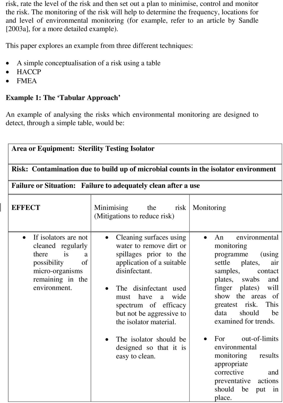 This paper explores an example from three different techniques: A simple conceptualisation of a risk using a table HACCP FMEA Example 1: The Tabular Approach An example of analysing the risks which