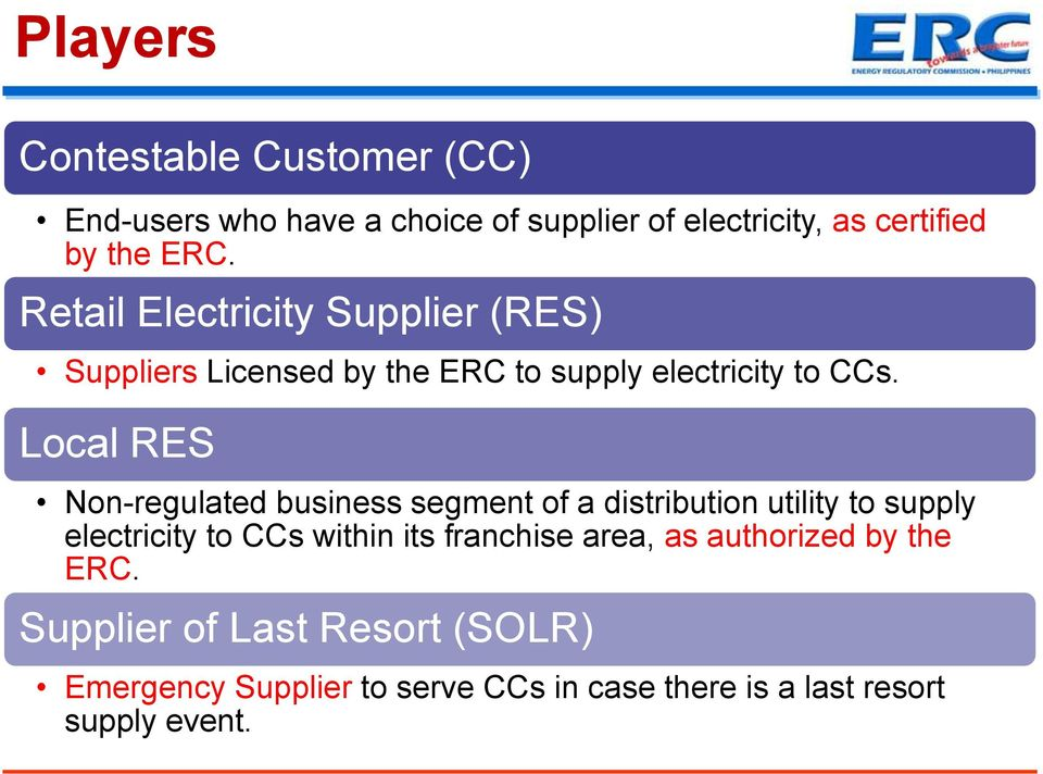 Local RES Non-regulated business segment of a distribution utility to supply electricity to CCs within its franchise
