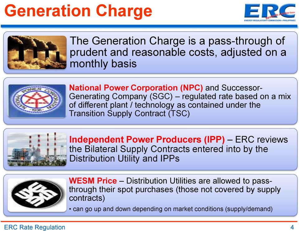 Independent Power Producers (IPP) ERC reviews the Bilateral Supply Contracts entered into by the Distribution Utility and IPPs WESM Price Distribution Utilities