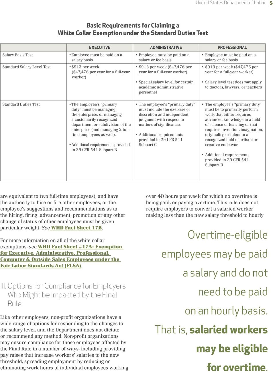 salary basis $913 per week ($47,476 per year for a full-year worker) Employee must be paid on a salary or fee basis $913 per week ($47,476 per year for a full-year worker) Special salary level for
