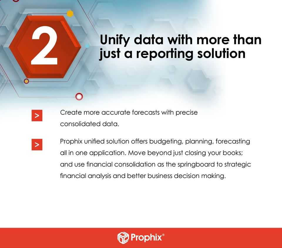 Prophix unified solution offers budgeting, planning, forecasting all in one application.