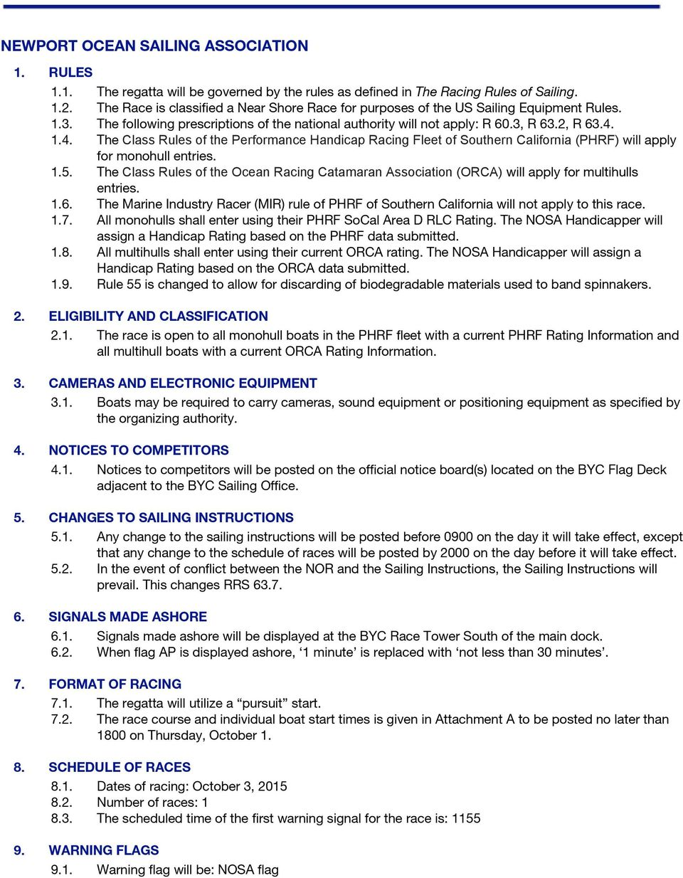1.4. The Class Rules of the Performance Handicap Racing Fleet of Southern California (PHRF) will apply for monohull entries. 1.5.