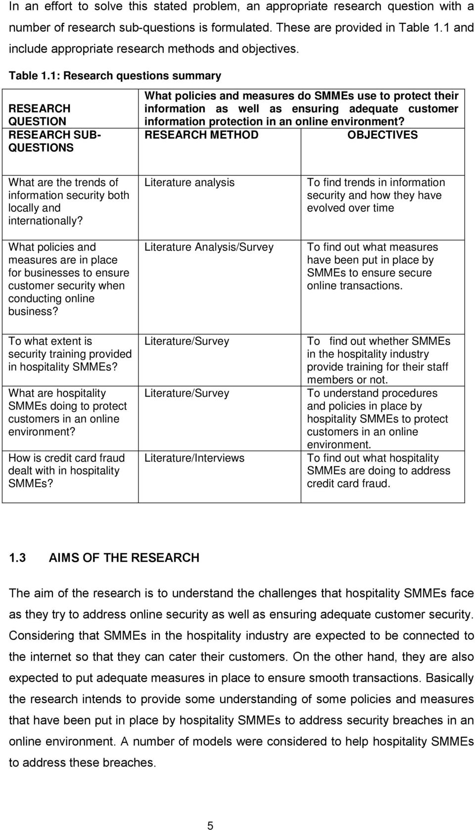 1: Research questions summary RESEARCH QUESTION RESEARCH SUB- QUESTIONS What policies and measures do SMMEs use to protect their information as well as ensuring adequate customer information