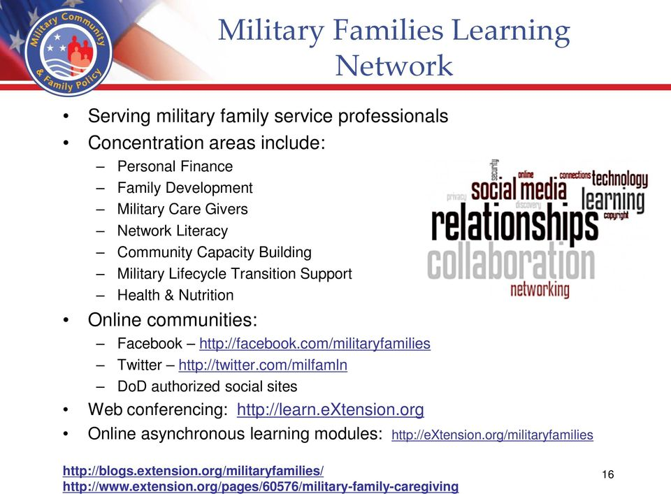 com/militaryfamilies Twitter http://twitter.com/milfamln DoD authorized social sites Military Families Learning Network Web conferencing: http://learn.