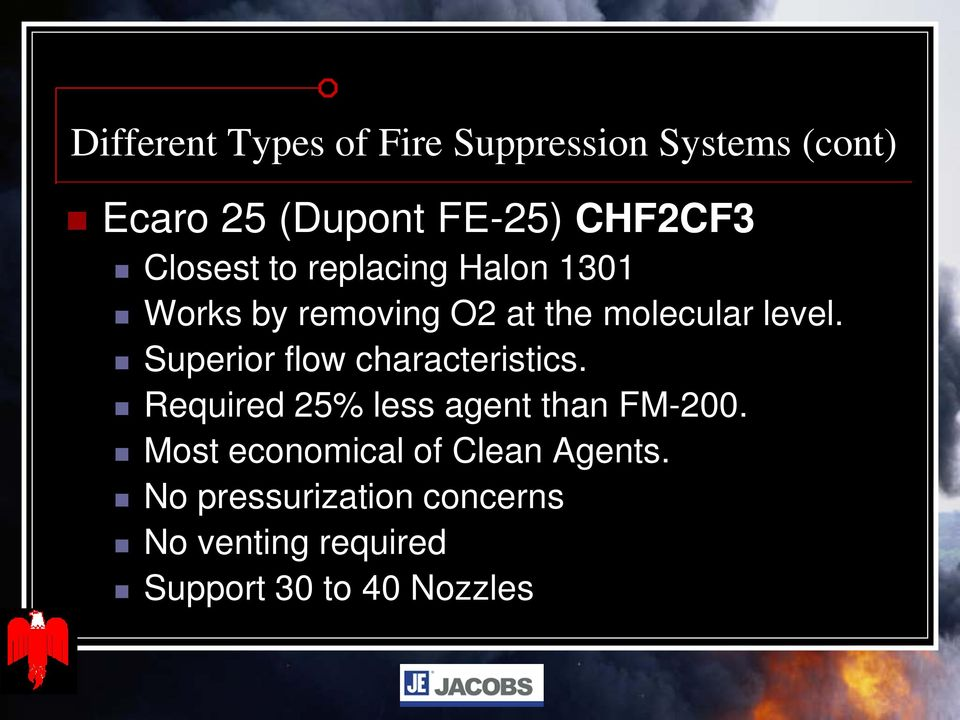 Superior flow characteristics. Required 25% less agent than FM-200.