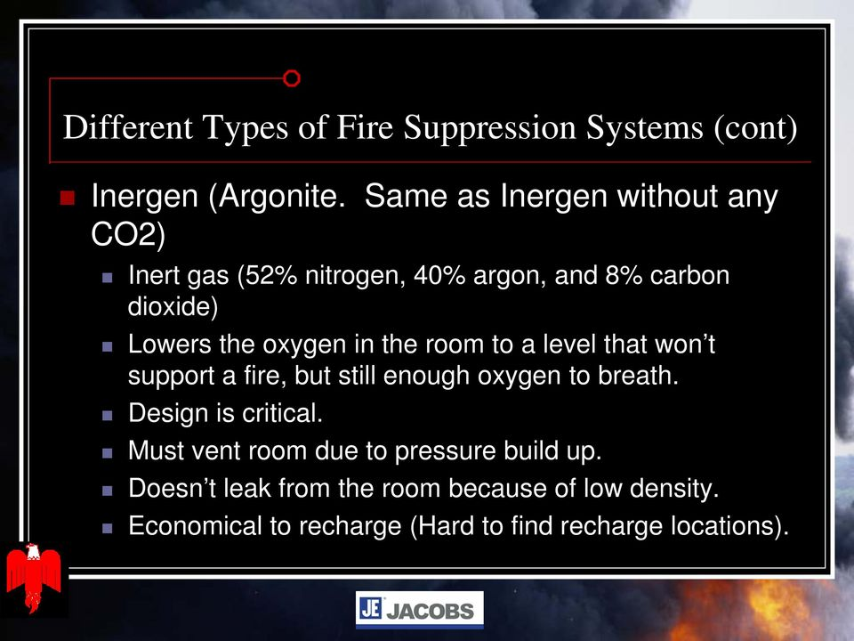 oxygen in the room to a level that won t support a fire, but still enough oxygen to breath.