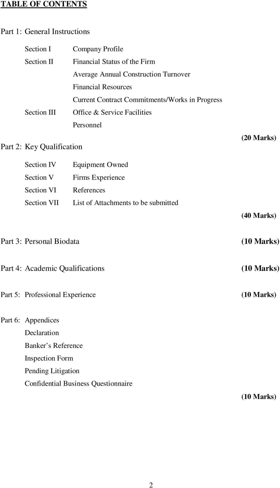 VII Equipment Owned Firms Experience References List of Attachments to be submitted (40 Marks) Part 3: Personal Biodata (10 Marks) Part 4: Academic Qualifications (10 Marks)