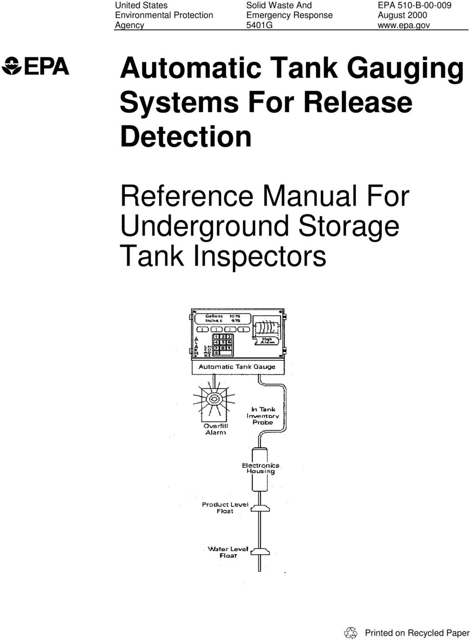 gov Automatic Tank Gauging Systems For Release Detection