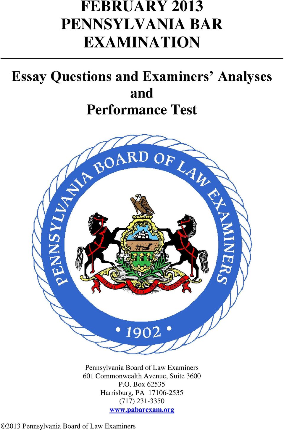 Pennsylvania Board of Law Examiners 601 Commonwealth Avenue, Suite 3600