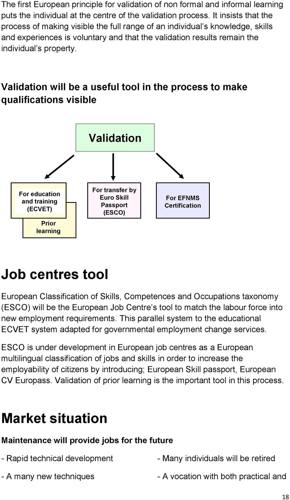 Validation will be a useful tool in the process to make qualifications visible Validation For education and training (ECVET) Prior learning For transfer by Euro Skill Passport (ESCO) For EFNMS