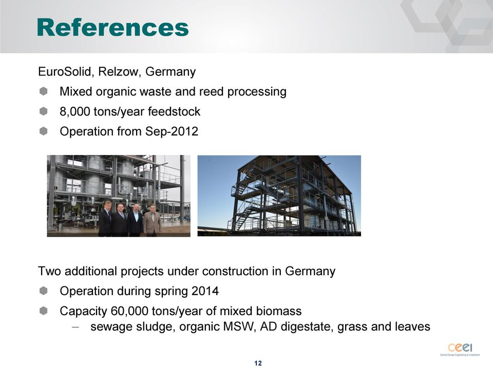 under construction in Germany Operation during spring 2014 Capacity 60,000