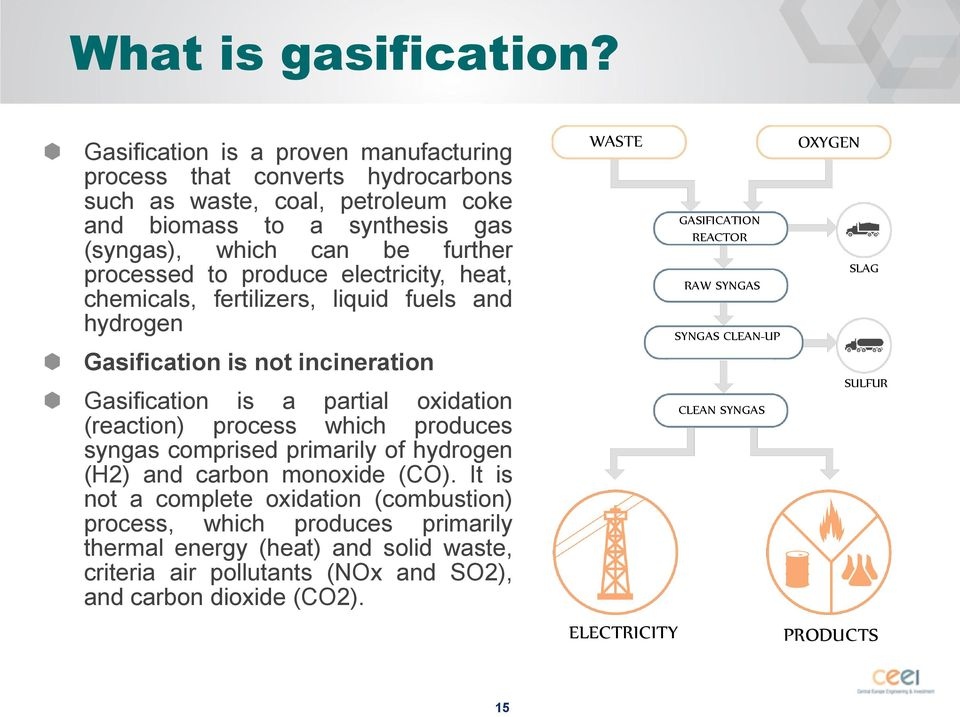 produce electricity, heat, chemicals, fertilizers, liquid fuels and hydrogen Gasification is not incineration Gasification is a partial oxidation (reaction) process which produces syngas