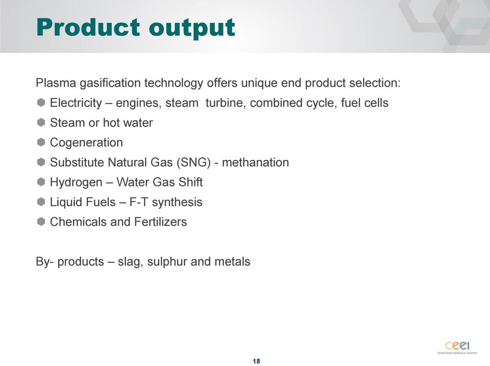 Cogeneration Substitute Natural Gas (SNG) - methanation Hydrogen Water Gas Shift