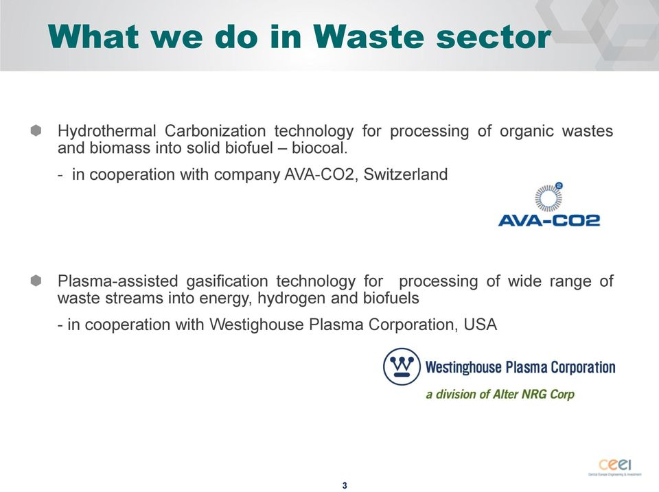 - in cooperation with company AVA-CO2, Switzerland Plasma-assisted gasification technology