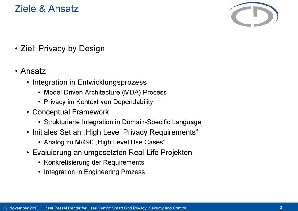 Integration in Domain-Specific Language Initiales Set an High Level Privacy Analog zu M/490 High Level