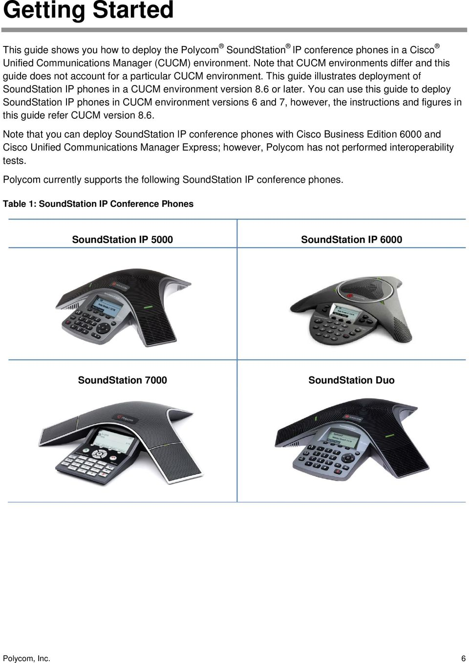 6 or later. You can use this guide to deploy SoundStation IP phones in CUCM environment versions 6 and 7, however, the instructions and figures in this guide refer CUCM version 8.6. Note that you can