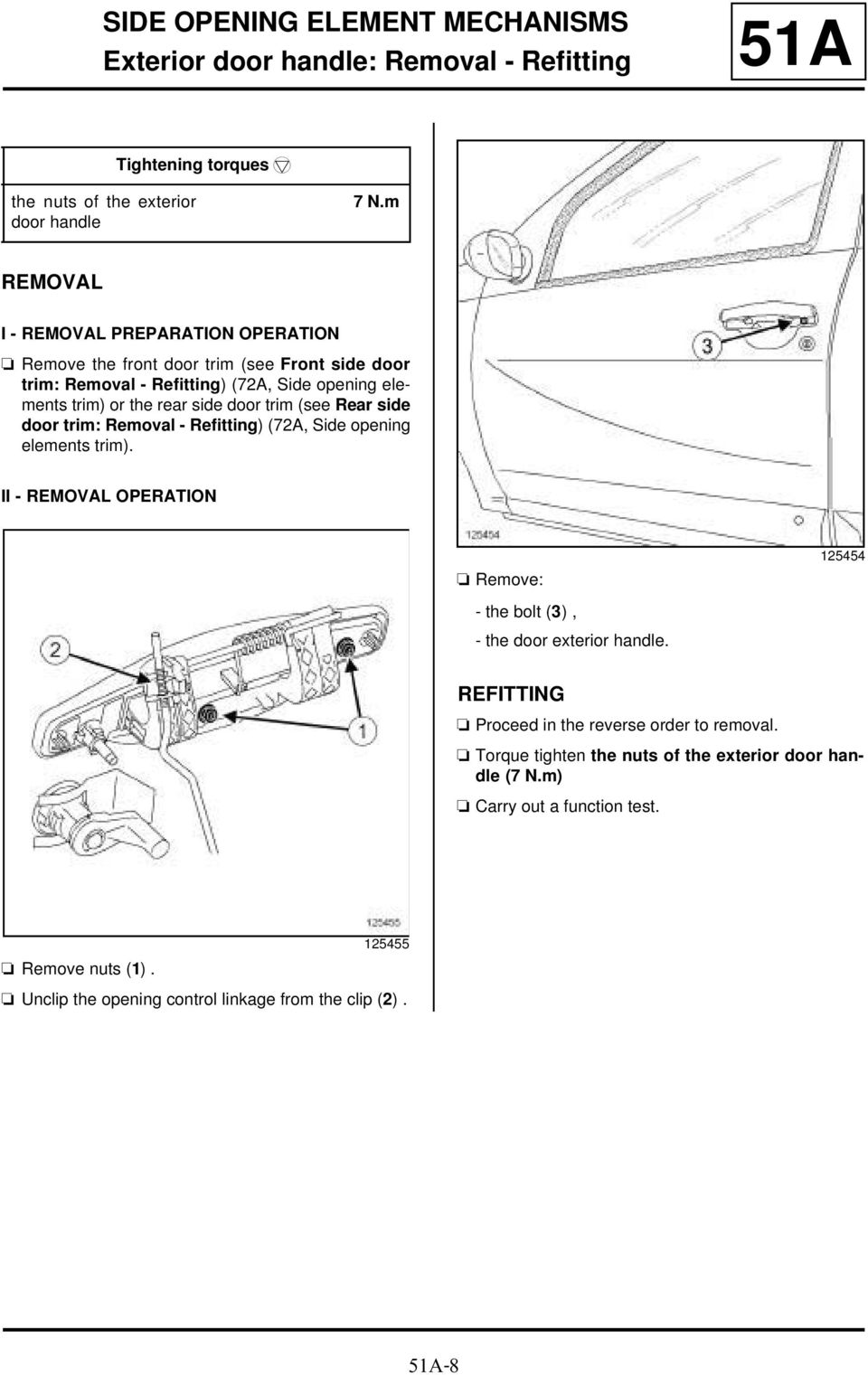 Rear side door trim: Removal - Refitting) (72A, Side opening elements trim). II - OPERATION a Remove: 125454 - the bolt (3), - the door exterior handle.