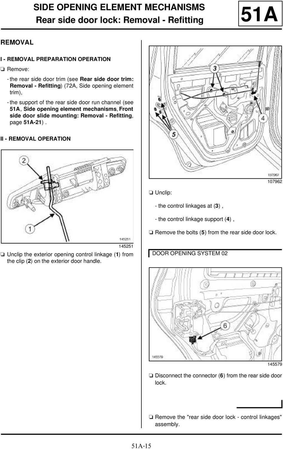 II - OPERATION 107962 a Unclip: - the control linkages at (3), - the control linkage support (4), a Remove the bolts (5) from the rear side door lock.