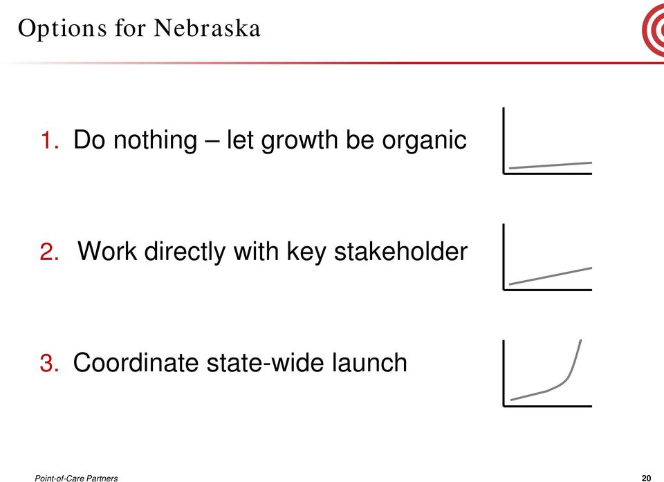 Work directly with key stakeholder 3.