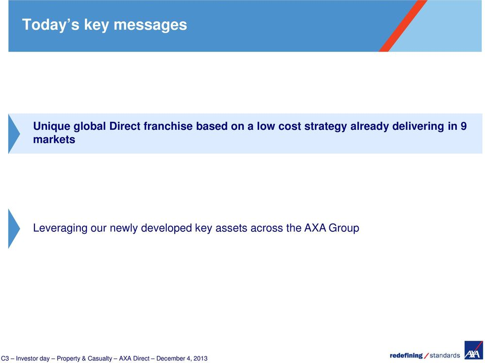 Leveraging our newly developed key assets across the AXA