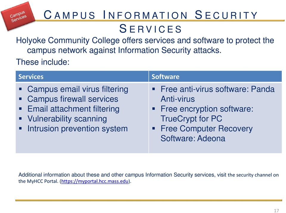 These include: Services Campus email virus filtering Campus firewall services Email attachment filtering Vulnerability scanning Intrusion prevention system