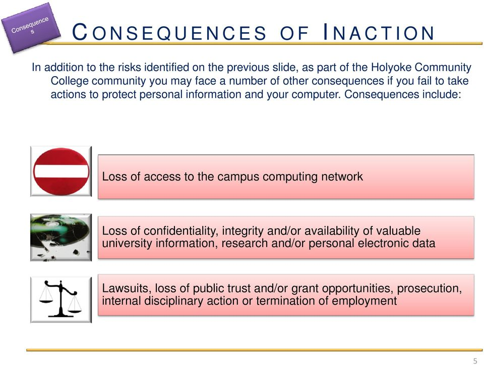 Consequences include: Loss of access to the campus computing network Loss of confidentiality, integrity and/or availability of valuable university