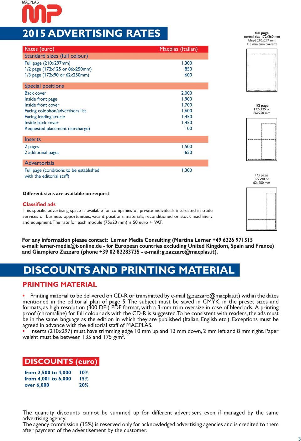 page normal size 172x260 mm bleed 210x297 mm + 3 mm trim oversize 1/2 page 172x125 or 86x250 mm Inserts 2 pages 1,500 2 additional pages 650 Advertorials Full page (conditions to be established 1,300