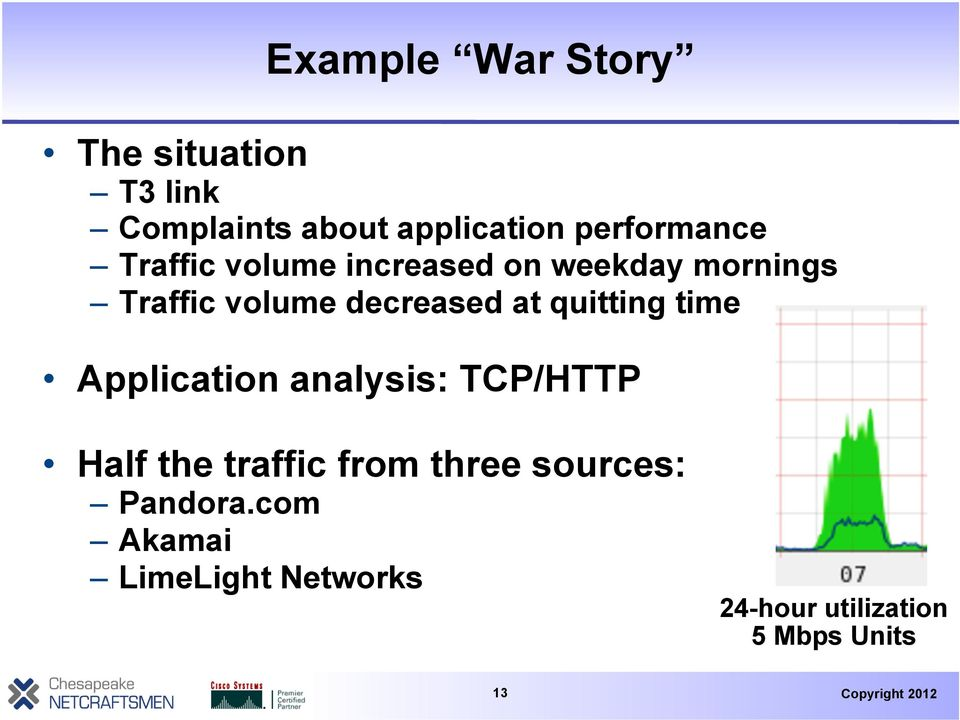 decreased at quitting time Application analysis: TCP/HTTP Half the traffic
