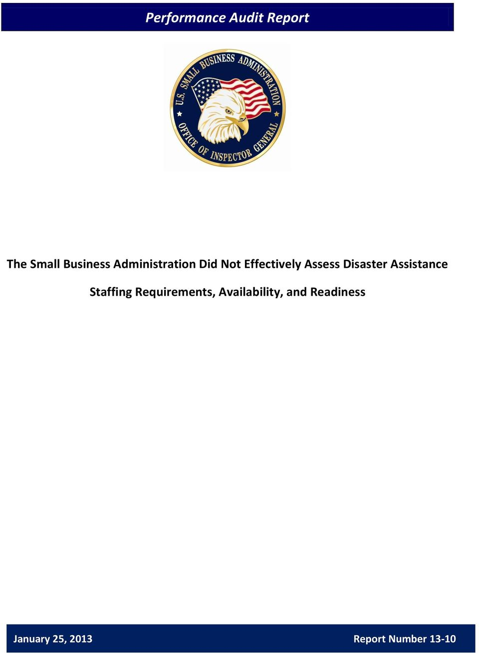 Disaster Assistance Staffing Requirements,
