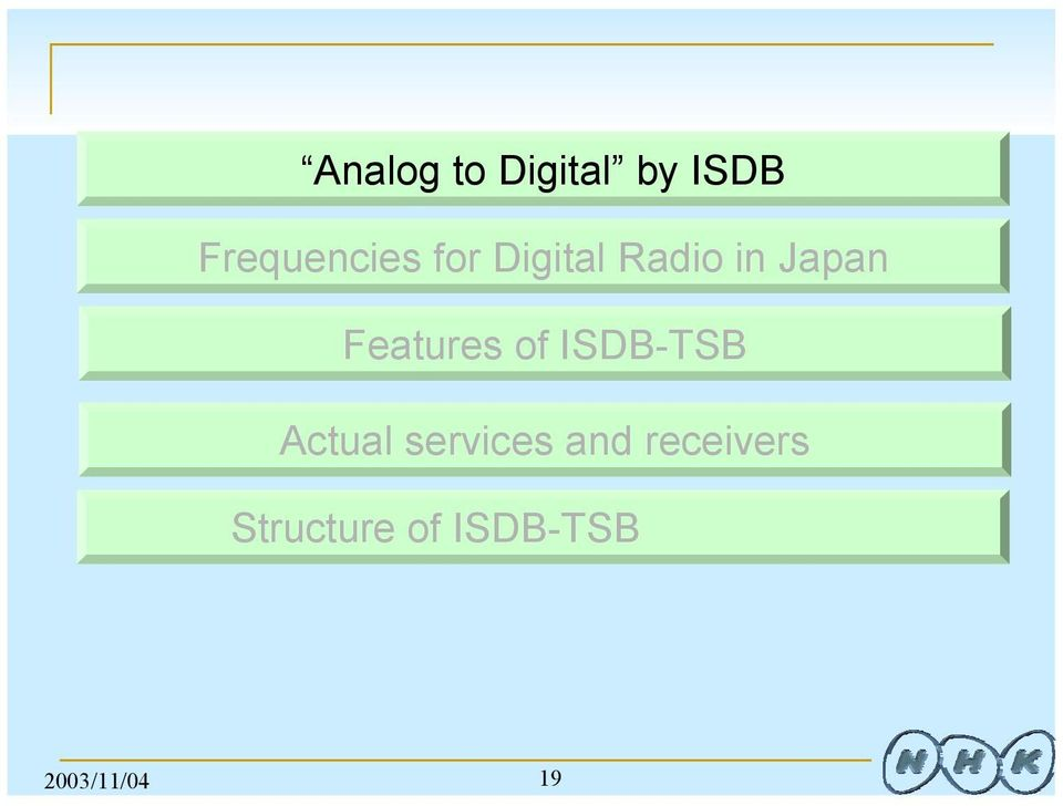 1953 1984 1955 Num of Stations 47 53 127 19 669 Num of Transmitters (satellites) 621 810 15058 5 994 Analog to Digital by ISDB Freq.